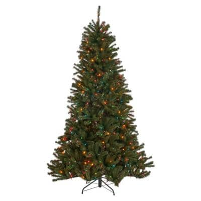 9 ft. Pre-Lit Noble Fir Hinged Artificial Christmas Tree with 700 Multi-Colored Lights
