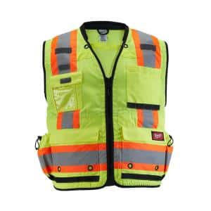 2X-Large/3X-Large Yellow Class 2 Surveyor's High Visibility Safety Vest with 27-Pockets