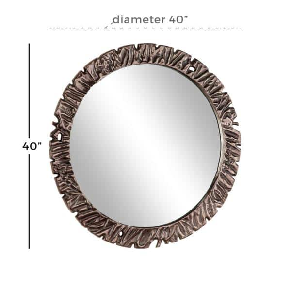 Litton Lane Medium Round Mirror 40 In, 40 Round Mirror