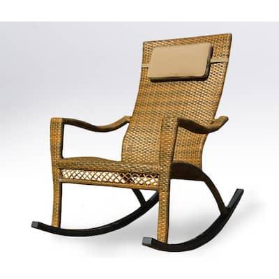 Maracay Tree Bark Wicker Oversized Outdoor Rocking Chair with Head Cushion