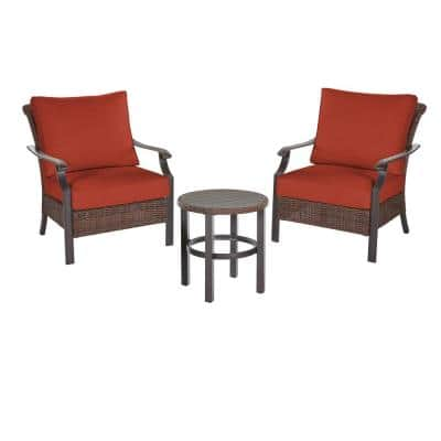 Harper Creek 3-Piece Brown Steel Outdoor Patio Chair Set with CushionGuard Quarry Red Cushions