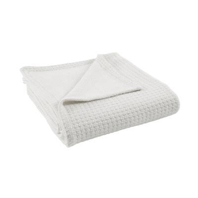 Bleach White 100% Cotton Thermal King/california king Blanket