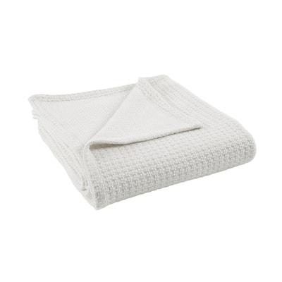 Bleach White 100% Cotton Thermal Full/Queen Blanket