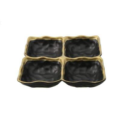 Black Porcelain 4 sectional Relish Dish with Gold Rim