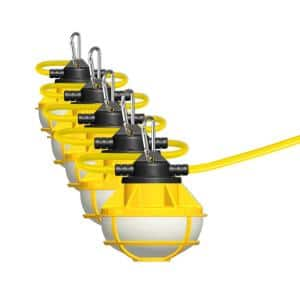 50 ft. 5-Lamp 8000 Lumens Total ProSeries Ultra Bright Flood Wet Location 5000K Plug-in String LED Work Light (2-Pack)