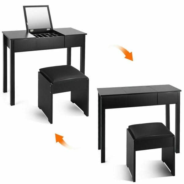 Costway 2 Piece Black Vanity Dressing Table Set Mirrored Bedroom Furniture With Stool And Storage Box Hw53894bk The Home Depot