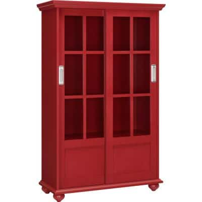 Abel Place 51 in. Red Wood 4-shelf Standard Bookcase with Adjustable Shelves