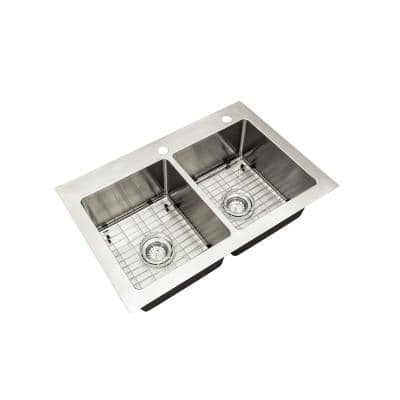 Tight Radius Stainless Steel Drop-In/Undermount 33 in. Double Bowl Tight Radius Kitchen Sink with Grids and Strainers