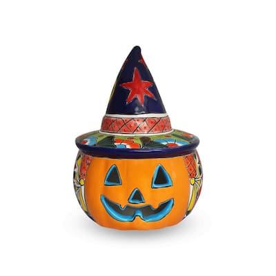 14 in. Talavera Orange Witch Pumpkin Candle Holder