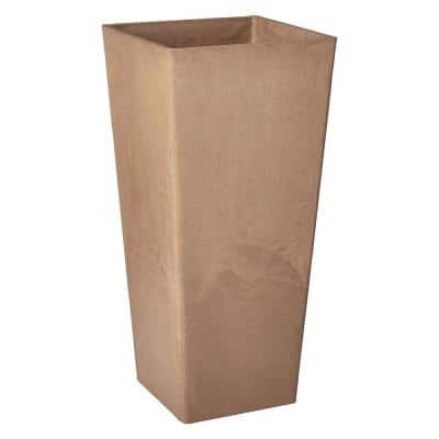 Contempo Tall Square 13 in. x 13 in. x 28 in. Taupe PSW Pot