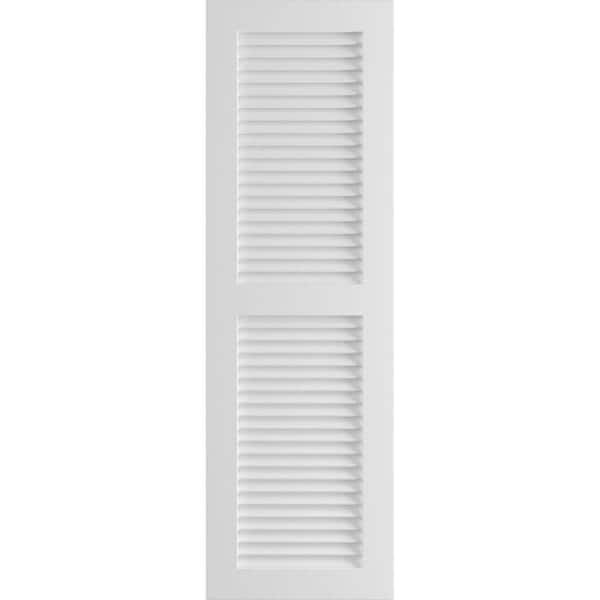 Ekena Millwork 18 X 75 True Fit Pvc Two Equal Louver Shutters Unfinished Per Pair 1569257 The Home Depot