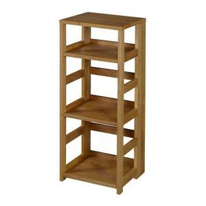 34 in. Medium Oak Wood 3-shelf Standard Bookcase
