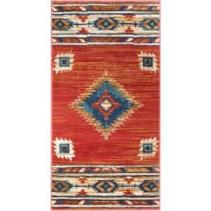 Tulsa Lea Traditional Vintage Southwestern Tribal Crimson 2 ft. 3 in. x 3 ft. 11 in. Accent Mat Rug