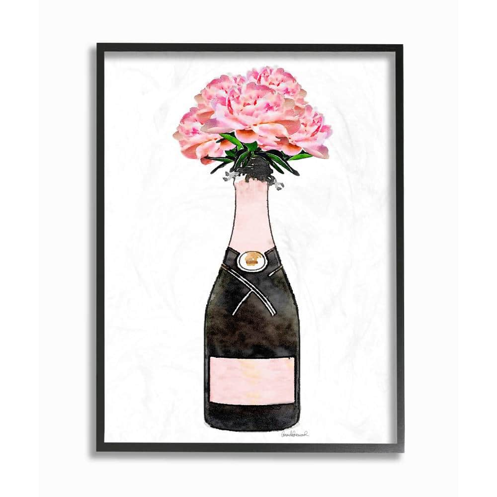 The Stupell Home Decor Collection 16 In X 20 In Champagne Bottle Pink Flowers Watercolor By Amanda Greenwood Framed Wall Art Agp 137 Fr 16x20 The Home Depot