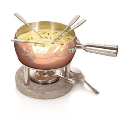 Exclusive Collection 6-Piece Stainless Steel Fondue Set in Copper