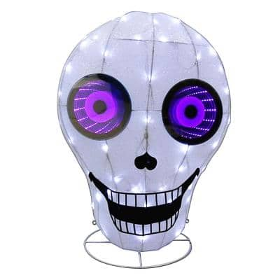 31 in. Lighted Halloween Skull with Infinity Mirror