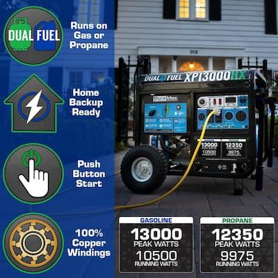 13000/10500-Watt Dual Fuel Electric Push Start Gasoline/Propane Portable Generator with CO Alert Shutdown Sensor