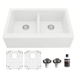 QA-750 Quartz/Granite 34 in. Double Bowl 50/50 Farmhouse/Apron Front Kitchen Sink in White with Grid and Strainer