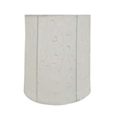 14 in. x 15 in. Beige and Embroidered Design Drum/Cylinder Lamp Shade