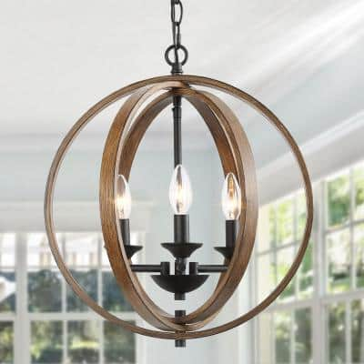 3-light Farmhouse Rustic Black Chandelier Island Cage Globe Candlestick Chandelier Light Fixture