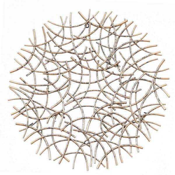 Luxenhome Large Antiqued Gold Abstract, Round Wall Decor Metal