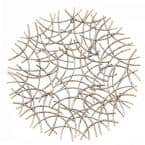 Large Antiqued-Gold Abstract Round Metal Wall Art