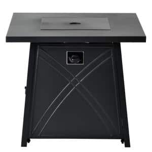 28 in. W x 24 in. H Outdoor Square Propane Gas Stainless Steel Fire Pit