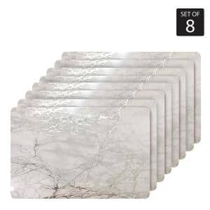 Marble Cork 12 in. x 18'' In. Grays and Silver Cork Rectangle Placemats Set of 8