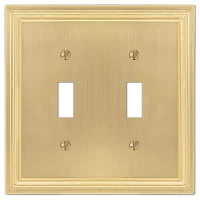 Hallcrest 2 Gang Toggle Metal Wall Plate - Satin Brass
