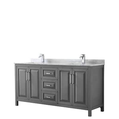 Daria 72 in. Double Bathroom Vanity in Dark Gray with Marble Vanity Top in Carrara White with White Basin