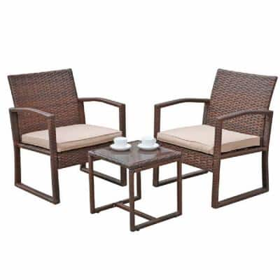 Patiorama 3-Pieces Wicker Outdoor Patio Furniture Set with Brown Cushions