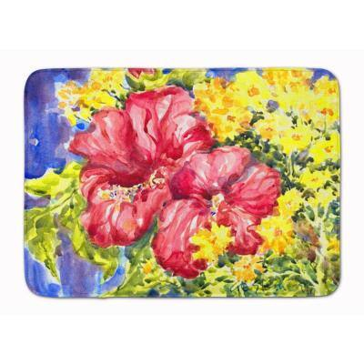 19 in. x 27 in. Flower - Hibiscus Machine Washable Memory Foam Mat