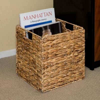 12 in. Foldable Hyacinth Wicker Storage Basket with Iron Wire Frame