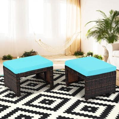 2-Piece Patio Rattan Ottoman Cushioned Seat Foot Rest Furniture in Turquoise