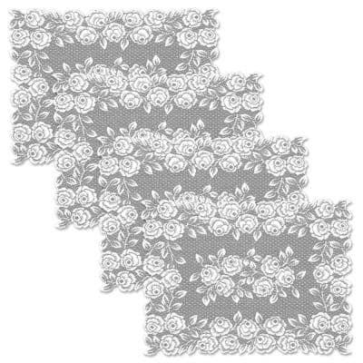 Tea Rose 14 in. x 20 in. White Placemat (Set of 4)