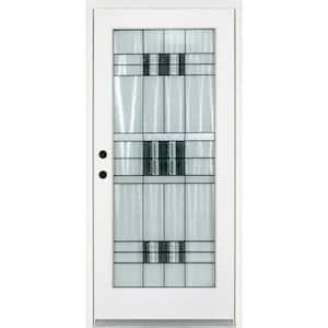 36 in. x 80 in. Savana Smooth White Right-Hand Inswing Full 1 Lite Decorative Fiberglass Prehung Front Door