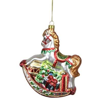 5.25 in. White Glittered Traditional Rocking Horse Glass Christmas Ornament