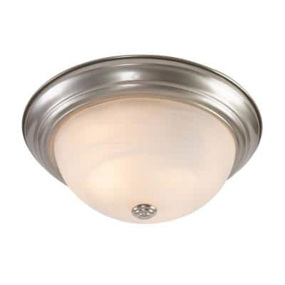 Belen 2-Light Satin Nickel Flush Mount with White Marble Glass Shade