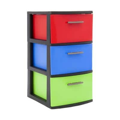 13 in. W x 23.9 in. H x 15 in. D Bright Multi-Color Resin 3-Drawer Storage Cabinet