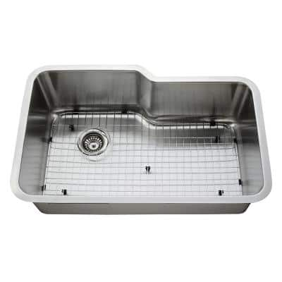 Empire Undermount 16-Gauge Stainless Steel 32 in. Single Bowl Kitchen Sink with Grid and Strainer