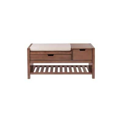 Haze Finish Wood Entryway Bench with Cushion and Concealed Storage (41.5 in. W x 19 in. H)