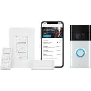 Caseta Wireless Smart Lighting Dimmer Switch Starter Kit with Ring 1080p Smart Video Doorbell Camera (2020 Release)