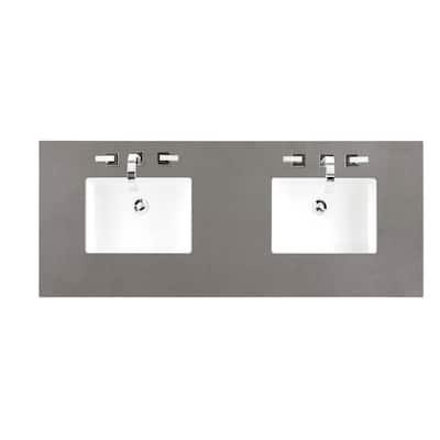 60 in. W Silestone Quartz Double Basin Vanity Top in Grey Expo with White Basin