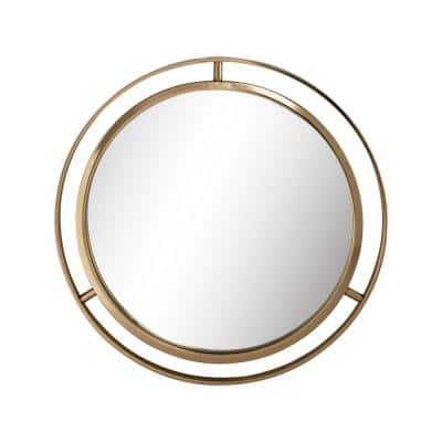 Small Round Gold Classic Mirror (1.38 in. H x 24.02 in. W)