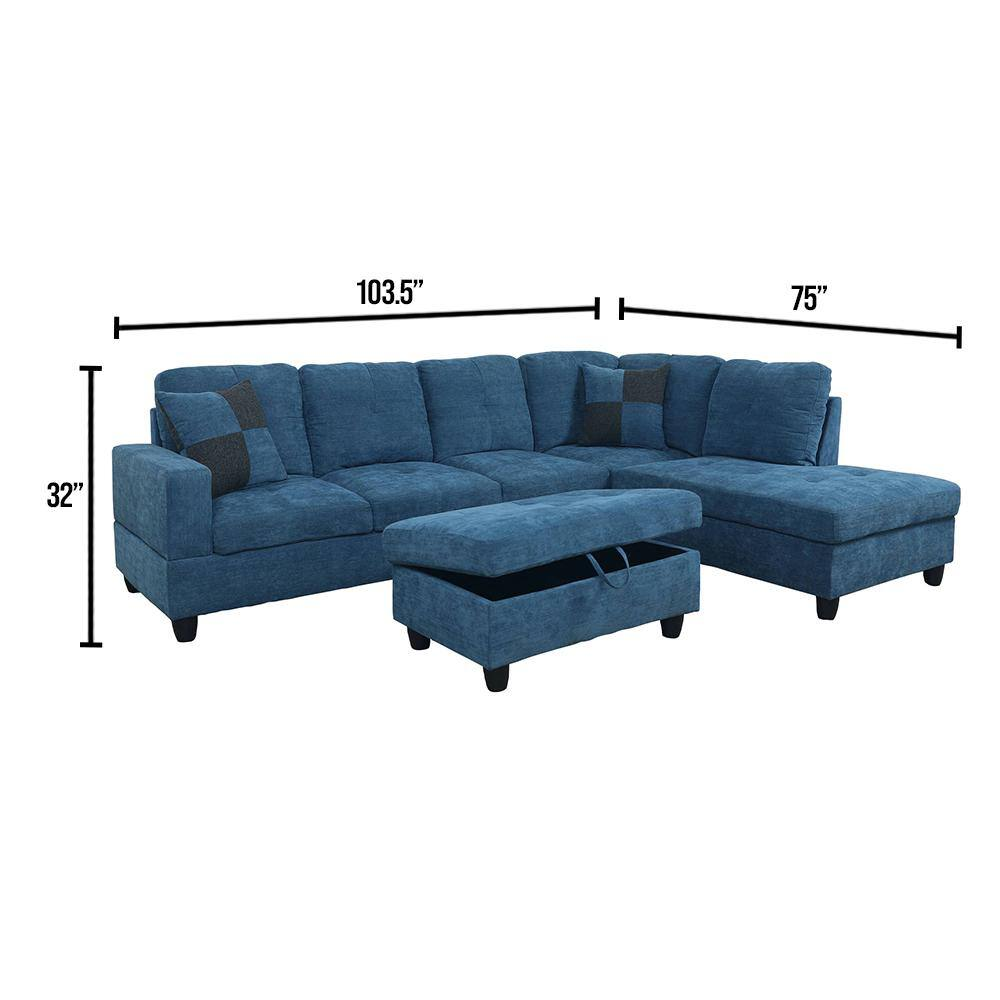 Star Home Living 3 Piece Blue Microfiber 4 Seater L Shaped Left Facing Chaise Sectional Sofa With Ottoman F122a The Home Depot