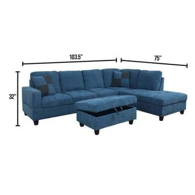 3-Piece Blue Microfiber 4-Seater L-Shaped Left-Facing Chaise Sectional Sofa with Ottoman