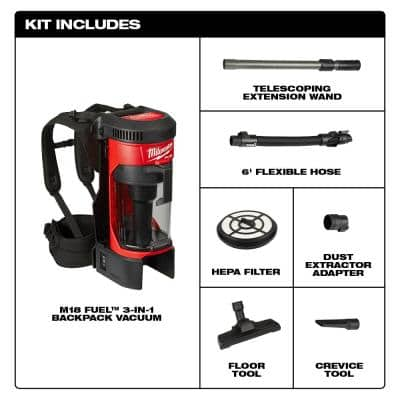 M18 FUEL 18-Volt Lithium-Ion Brushless 1 Gal. Cordless 3-in-1 Backpack Vacuum (Tool-Only)