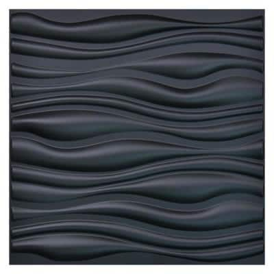 Wave PVC Decorative Black Wall Panel for Living Room 19.7 in. x 19.7 in. x 1 in. (12-Pack)