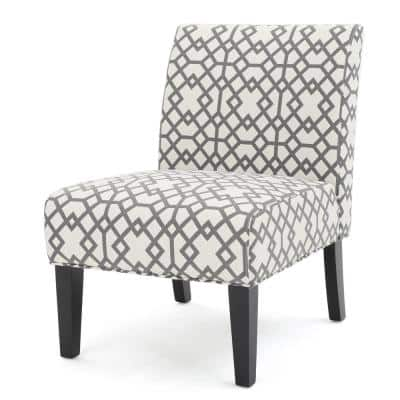 Kassi Grey Geometric Patterned Fabric Accent Chair