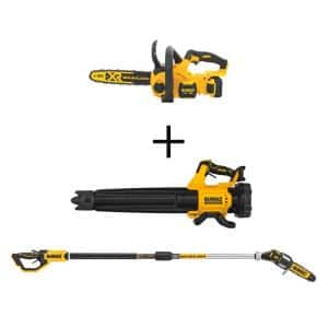 12 in. 20V MAX Lithium-Ion Cordless Brushless Chainsaw Kit w/20V Brushless Blower and 8 in. Pole Saw (Tools Only)
